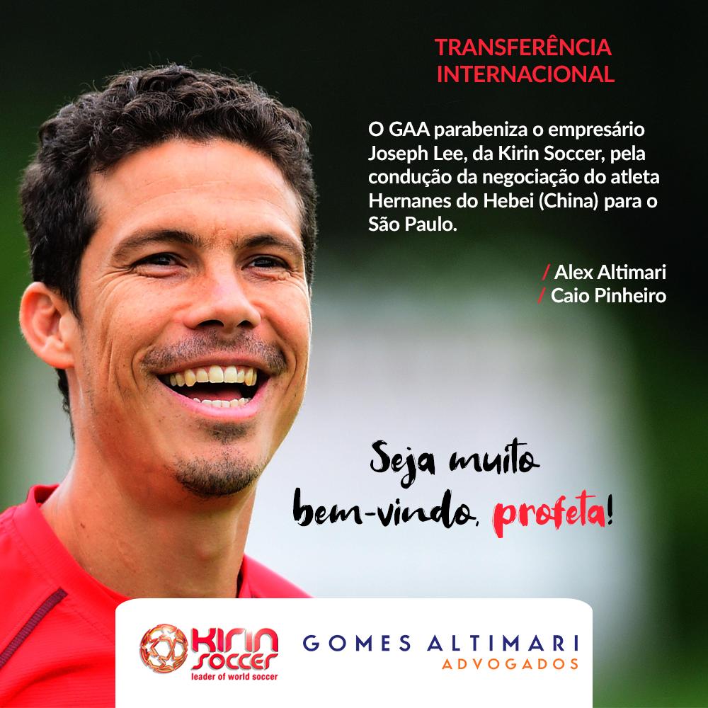 GAA parabeniza o empresário Joseph Lee pela negociação do atleta Hernanes do Hebei para o São Paulo